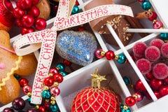 Decoraciones de la Feliz Navidad Fotos de archivo