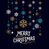 Decoraciones de la Feliz Navidad stock de ilustración