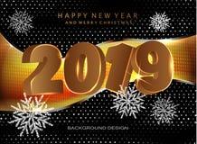 Decoraciones de la Feliz Navidad y de la Feliz Año Nuevo 2019 stock de ilustración