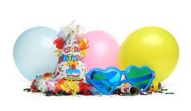 Decoraciones de la fiesta de cumpleaños fotos de archivo