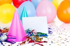 Decoraciones de la fiesta de cumpleaños Fotografía de archivo