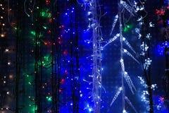 Decoraciones de la luz de la Navidad de la secuencia Fotografía de archivo libre de regalías