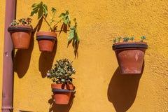 Decoraciones de la maceta en una calle en Tarragona, España foto de archivo