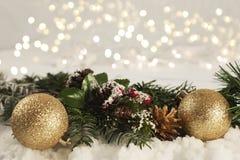 Decoraciones de la Navidad acurrucadas en nieve Foto de archivo libre de regalías