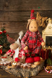 Decoraciones de la Navidad Alces, linterna, galletas del pan de jengibre, walnu Fotos de archivo