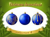Decoraciones de la Navidad Colección de bolas de cristal azules Imagen de archivo libre de regalías