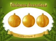Decoraciones de la Navidad Colección de bolas de cristal del oro Fotografía de archivo