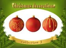 Decoraciones de la Navidad Colección de bolas de cristal rojas Foto de archivo libre de regalías