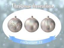 Decoraciones de la Navidad Colección de vidrio de plata ballsdecorated Imagen de archivo