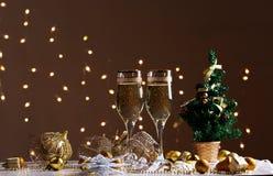 Decoraciones de la Navidad con la copa Imagenes de archivo