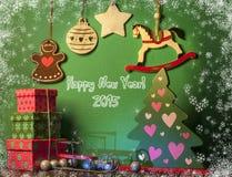 Decoraciones de la Navidad con el caballo blanco Símbolo 2015 del Año Nuevo Imagen de archivo libre de regalías