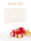 Decoraciones de la Navidad con el espacio de la copia Imágenes de archivo libres de regalías