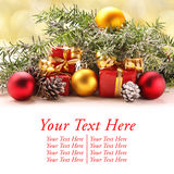 Decoraciones de la Navidad con el espacio para el texto Fotografía de archivo libre de regalías