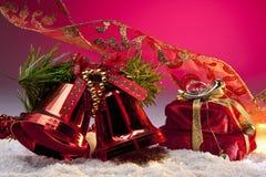 Decoraciones de la Navidad con el espacio para la copia Imagen de archivo libre de regalías