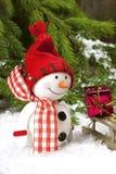 Decoraciones de la Navidad con el muñeco de nieve Foto de archivo libre de regalías