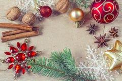 Decoraciones de la Navidad con el papel en blanco Foto de archivo