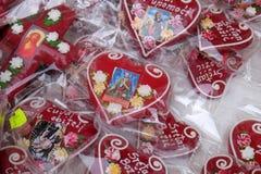 Decoraciones de la Navidad con el símbolo tradicional del corazón de Licitar de Zagreb Fotografía de archivo libre de regalías