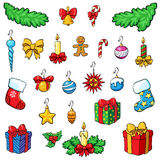 Decoraciones de la Navidad con los regalos Conjunto de la Navidad Imagen de archivo libre de regalías