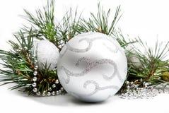 Decoraciones de la Navidad con plata grande Foto de archivo