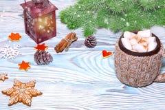 Decoraciones de la Navidad con la taza del cacao caliente, lámpara con la vela, palillos de canela, pino, rama del abeto en la ta Imagen de archivo libre de regalías