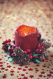 Decoraciones de la Navidad con velas Imagen de archivo libre de regalías