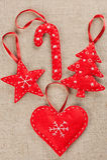 Decoraciones de la Navidad del fieltro Fotos de archivo libres de regalías