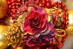 Decoraciones de la Navidad del oro Imagen de archivo