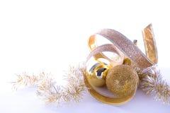 Decoraciones de la Navidad del oro Imagen de archivo libre de regalías