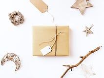 Decoraciones de la Navidad del regalo de Navidad y del vintage Imagenes de archivo