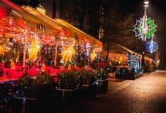 Decoraciones de la Navidad del restaurante Imagen de archivo