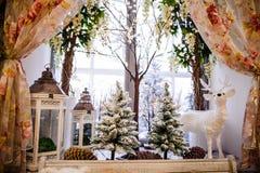 Decoraciones de la Navidad en alféizar del invierno Imagen de archivo libre de regalías