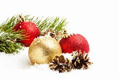 Decoraciones de la Navidad en blanco Fotos de archivo libres de regalías