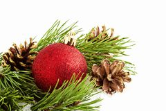 Decoraciones de la Navidad en blanco Imagen de archivo libre de regalías