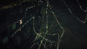 Decoraciones de la Navidad en el árbol en noche de la ciudad almacen de video