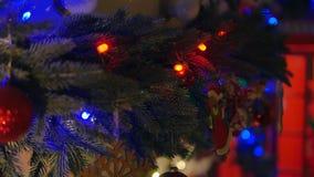 Decoraciones de la Navidad en el abeto de las ramas metrajes