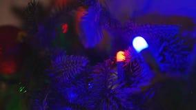 Decoraciones de la Navidad en el abeto de las ramas almacen de metraje de vídeo