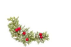 Decoraciones de la Navidad en el fondo blanco Visión superior, endecha plana Concepto de las vacaciones de invierno fotografía de archivo libre de regalías