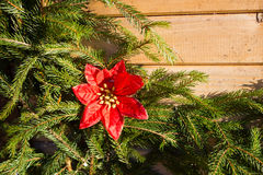 Decoraciones de la Navidad en el fondo del abeto Imágenes de archivo libres de regalías