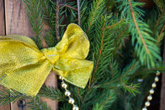 Decoraciones de la Navidad en el fondo del abeto Fotografía de archivo libre de regalías