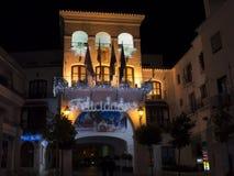 Decoraciones de la Navidad en la ciudad de Nerja España Imagen de archivo libre de regalías