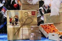Decoraciones de la Navidad en la GOMA, Moscú, Rusia Imagen de archivo libre de regalías