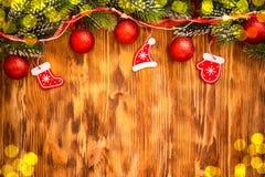 Decoraciones de la Navidad en la madera Fotos de archivo libres de regalías