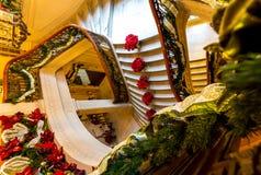 Decoraciones de la Navidad en la mansión de Pittock Imagen de archivo
