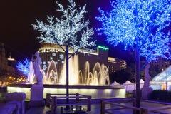 Decoraciones de la Navidad en las calles en Barcelona Fotos de archivo libres de regalías