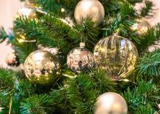 Decoraciones de la Navidad en las ramas del árbol de abeto Imagen de archivo libre de regalías