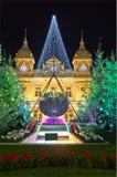Decoraciones de la Navidad en Mónaco, Monte Carlo, Francia Fotografía de archivo libre de regalías