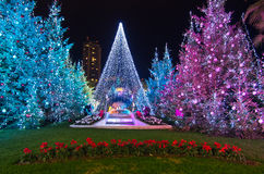 Decoraciones de la Navidad en Mónaco, Monte Carlo, Francia Fotos de archivo libres de regalías