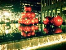 Decoraciones de la Navidad en New York City Imagenes de archivo