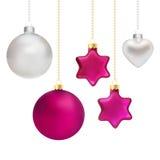 Decoraciones de la Navidad en plata y magenta Foto de archivo libre de regalías