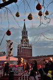 Decoraciones de la Navidad en Plaza Roja en el ` s, Moscú, Rusia del Año Nuevo Fotografía de archivo libre de regalías